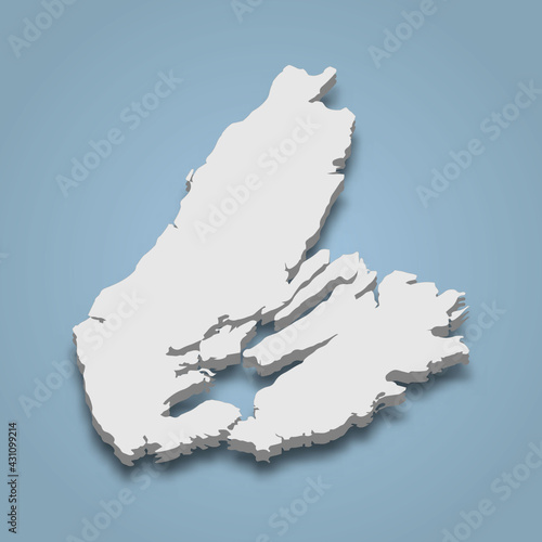 Valokuvatapetti 3d isometric map of Cape Breton is an island in Canada
