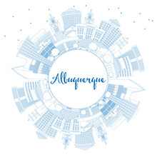 Outline Albuquerque New Mexico City Skyline With Blue Buildings And Copy Space.
