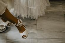 Wedding Shoe On The Bride's Feet