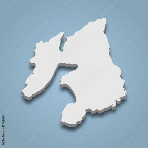 Fotografie, Obraz 3d isometric map of Islay is an island in Scotland,
