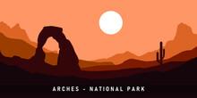 Arches National Park. Vector Illustration Background.