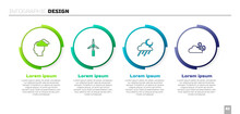 Set Man Having Headache, Wind Turbine, Cloud With Rain And Moon And Windy Weather. Business Infographic Template. Vector