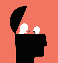 Bipolar Disorder Or Internal Conflict Or Anxiety Or Suspended Anger And Personality Issues Psychological Concept Illustration With Human Head Silhouette. Conceptual Abstract Vector Illustration