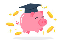 Happy Pink Piggy Bank With Graduation Cap And Floating Golden Coins. The Creative Concept Idea Of Saving Money For Education. Simple Trendy Cute Cartoon Vector Illustration. Flat Style Graphic Icon.