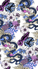 Seamless Pattern Of Asian Dragon And Flowers. Vector Illustration. Suitable For Fabric, Mural, Wrapping Paper And The Like