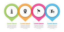Set Lighthouse, Location With Cross Hospital, Marker And Folded Map Location. Business Infographic Template. Vector