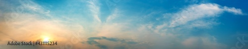 Dramatic panorama sky with cloud on sunrise and sunset time. Panoramic image. - fototapety na wymiar