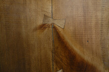 Solid Wood Plank With Cracks And Patch Butterfly Wood Grain Wood Background
