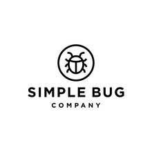 Simple Bug Line Logo Design Vector Icon In A Circle