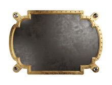 Steampunk Metal Plaque With Brass Borders. 3d Illustration
