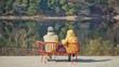 休日の湖畔のベンチの老夫婦