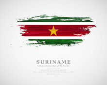 Happy Independence Day Of Suriname With Artistic Watercolor Country Flag Background