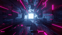 Tunnel, Perspective, Sci-fi Corridor, Cyberspace, City, Bridge, 3d Wallpaper, Background, Time Travel, Light At The End, Back To The Future, Digital Night, Light In Time