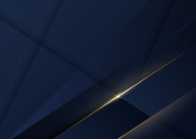 Abstract Dark Blue Luxury Background With Golden Line Diagonal.
