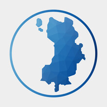 Ko Tao Icon. Polygonal Map Of The Island In Gradient Ring. Round Low Poly Ko Tao Sign. Vector Illustration.