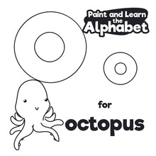 Didactic Alphabet To Color It, With Letter O And Octopus, Vector Illustration