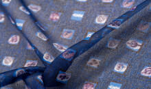 Texture, Background, Pattern, Blue Silk Fabric, Delicate Weaving, Print Of A Children's Toy In A Cage, Design, Openwork Weaving