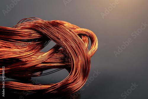 Fotografia, Obraz Scrap copper wire on black background. Close up