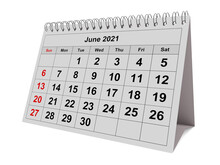 One Page Of The Annual Monthly Calendar - Month June 2021