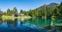 Blausee Lake In The Kander Valley Near Kandergrund, Switzerland