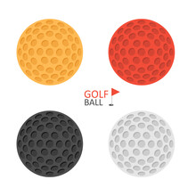 Golf Ball. Golfer Sports Equipment. Flat Style. Isolated On White Background