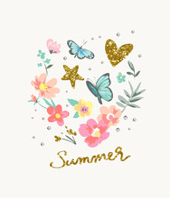 Summer Gold Glitter Slogan With Colorful Flowers And Butterflies Vector Illustration