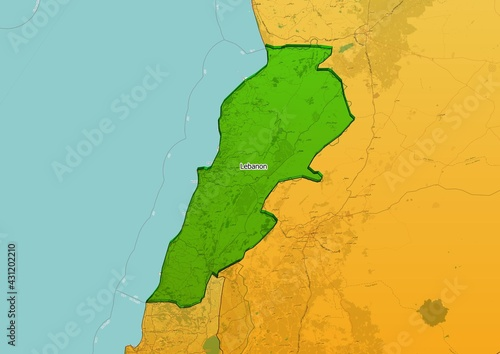 Wallpaper Mural Lebanon map showing country highlighted in green color with rest of Asian countr
