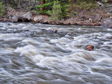 Mountain River Rapids - Poudre River At The Little Narrows Above Fort Collins, Colorado, In Early Spring Scenery