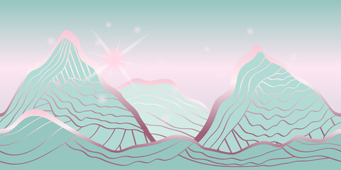 mountain landscape at sunrise, abstract vector pattern