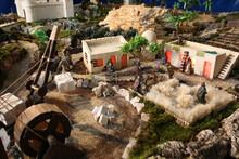 Nativity Scene Closeup Figurines In Christmas Season