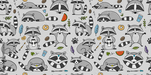 Racoons Family. Funny Characters. Seamless pattern for your design - fototapety na wymiar