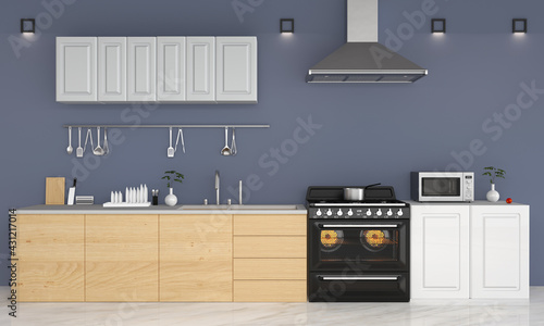 Fotografie, Obraz Modern kitchen blue background, 3D rendering