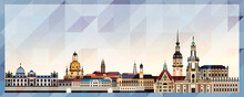 Dresden Skyline Vector Colorful Poster On Beautiful Triangular Texture Background