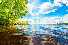 Forest Lake With Trees Growing On The Shore. Close Up View From The Water Level. Waves On The Lake. Cumulus Clouds. Sunlight Illuminates The Clouds. Beautiful Nature. Russia, Europe.