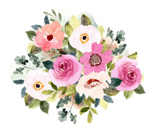 Blush Pink Flower Bouquet Watercolor Background