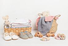 Baby And Child Clothes In Box. Second Hand Apparel Idea. Circular Fashion, Donation Idea