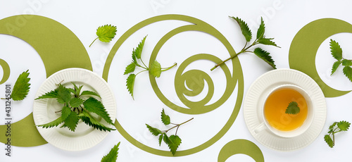 Banner, nettle tea cup, stinging nettle herb leaves. Ornate flat lay, green Fibonacci sequence circles, off white background. Healthy herbal tea, panoramic image. Alternative medicine, herbal remedy. - fototapety na wymiar