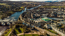 Perth City Centre, Scotland, By Drone. Featuring The River Tay, Horsecross And The North Inch.