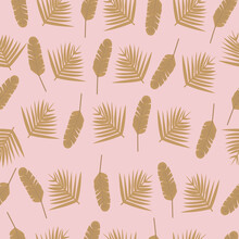 Seamless Pattern Of  Gold Banana Plants And Leaves. Vector Illustration