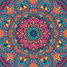 Floral Ethnic Tribal Festive Pattern For Fabric. Abstract Geometric Colorful Seamless Mandala Flower Ornamental.