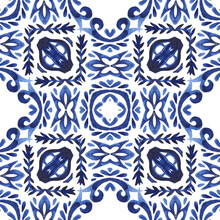 Abstract Blue And White Hand Drawn Tile Watercolor Paint Pattern.