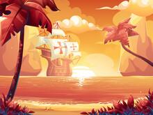 Cartoon Illustration Crimson Sun Sunrise Sunset Sea With Galleon