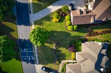 Top Down View Of Beautiful Houses In An Upscale Subdivision In Suburbs Of USA