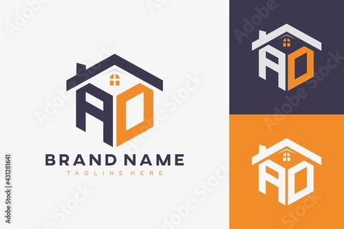 Canvas Print hexagon AO house monogram logo for real estate, property, construction business identity