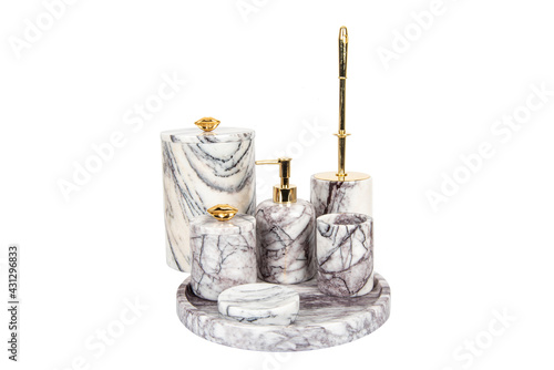 Fotografering luxury marble bathroom accessories set isolated on white