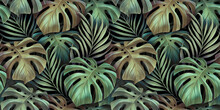 Tropical Seamless Pattern With Beautiful Monstera, Palm Leaves. Hand-drawn Dark Vintage 3D Illustration. Glamorous Exotic Abstract Background Design. Good For Luxury Wallpapers, Fabric Printing