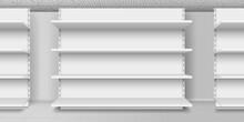 White Empty Store Shelves. Retail Shelf Rack. Showcase Display. Vector Illustration. Realistic 3d Vector Illustration.