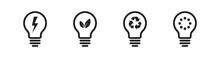 Ecology Lightbulb Icon Set. Vector Illustration. Green Light Bulb Collection. Eco Concept.