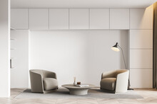 Light Living Room Interior With Armchairs And Parquet Floor, Mockup