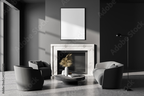 Fototapeta Grey room interior with fireplace, armchairs and lamp, mockup poster obraz